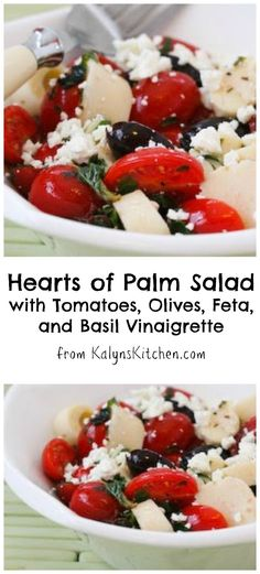 This Hearts of Palm Salad with Tomatoes, Olives, Feta, and Basil Vinaigrette is perfect for a late-summer party! [from KalynsKitchen.com] #TomatoSalad #EasyRecipe