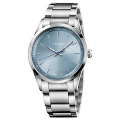 Calvin Klein Men's Bold K5A3114X Silver Strap with Light Blue Dial Stainless-steel Watch | Overstock.com Shopping - The Best Deals on Calvin Klein Men's Watches