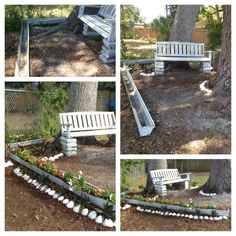 My little yard space inspired by ideas from pinterest. Using a old gutter as planter and converting a swing in to a garden bench :)