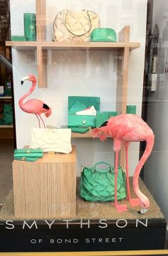 Smythson's Store Window Display Love the flamingos! retail display Gift Shop Magazine www.giftshopmag.com