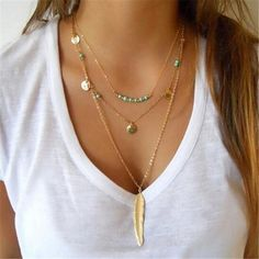 Gorgeous beaded multi-layer necklace with feather pendant - perfect for festival season! 3 layer necklace Gold chain with feather pendant Turquoise beading and coin details Feather Necklaces, Leaf Necklace, Boho Necklace, Boho Jewelry, Fashion Necklace, Pendant Necklace, Jewelry Necklaces, Fashion Jewelry, Women Jewelry