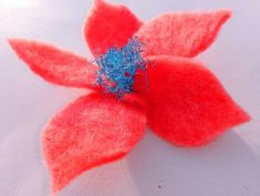 Light pink flower brooch or hair pin. Wool merino and recycling sparkly blue ribbons. Unique Flowers, Pink Gifts, Flower Brooch, Hair Pins, Maya, Flora, Recycling, Valentines, Etsy