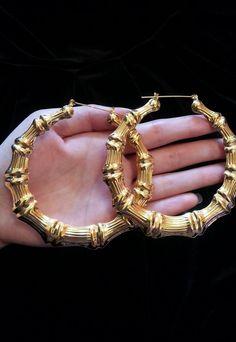 Exaggerate Large Gold Hoop Bamboo Earrings | Trendy Panda | ASOS Marketplace