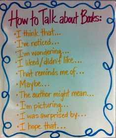 Anchor Chart:  How to Talk about Books