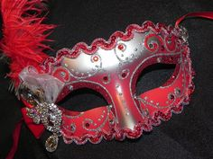 Red and Silver Princess Venetian Mask