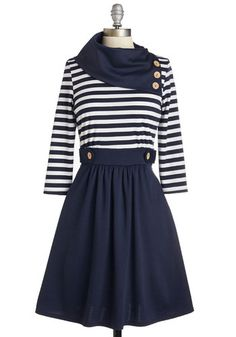 Coach Tour Dress - 3/4 Sleeves - Blue, White, Stripes, Buttons, Work, Casual, Nautical, A-line, 3/4 Sleeve, Knit, Mid-length, Pockets