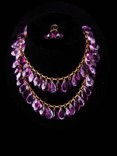 "Antique czech necklace / GORGEOUS Amethyst glass teardrops / victorian earring / purple Necklace / HUGE stones / 32"" long glass necklace"