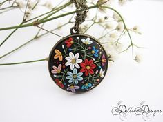 Moonlight Flowers Polymer Clay Pendant by DellineDesigns