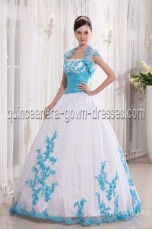 Beautiful Strapless White and Blue Puffy Quinceanera Dresses With Jackets PQ9997