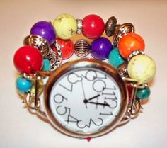 Bright Colorful Beaded Watch Band and Face  Chunky  by BeadsnTime, $30.00