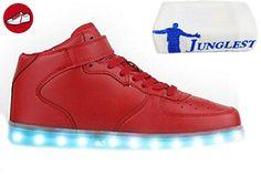 (Present:kleines Handtuch)Rot EU 43, aufladen Mode LED-Licht Sportschuhe mode Outdoorschuhe und 7 Damen USB Farbe Kinder Wechseln Leuchtend Schuhe Sneaker für JUNGLEST® L