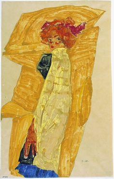 Egon Schiele Gerti in front of Ochre-Colored Drapery, 1910 Pencil, opaque color on Japanese vellum Alphonse Mucha, Gustav Klimt, Life Drawing, Painting & Drawing, Guggenheim Bilbao, Art Walk, Art Et Illustration, Art For Art Sake, Figurative Art
