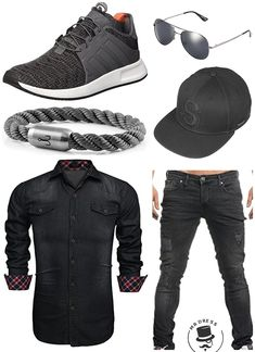 more photos 1e58a 2609e Cooles Outfit in Schwarz Grau Tönen! Aulei Herren Jeanshemd slim fit  aufwendiges Denim,TAZZIO