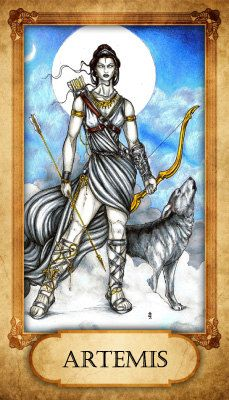 Artemis Prayer Card on Etsy, $2.50