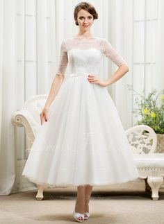 A-Line/Princess Scoop Neck Tea-Length Tulle Lace Wedding Dress With Bow(s) (002055922)