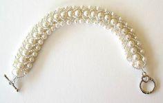 Beaded Bridal Bracelet Jewelry Ivory Glass Pearls Crystals Flat Spiral Stitch
