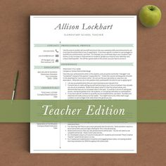 17 best Teacher Resume Templates images on Pinterest   Cv resume     Teacher Resume Template for Word   Pages   1  2 and 3 Page Resume Template