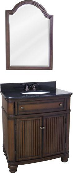 Bristol (single) 32-Inch Walnut Traditional Bathroom Vanity w Options
