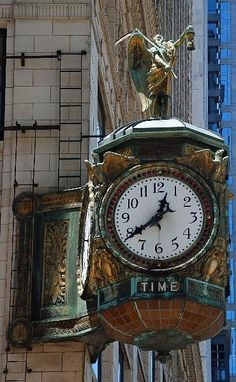 Father time clock, Jeweler's Building, Chicago, 1925-27 by ihynz7, via Flickr