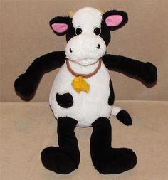 "10"" Old Navy White Black Cow Bull Plush Stuffed Animal Yellow Felt Bell Toy #OldNavy"