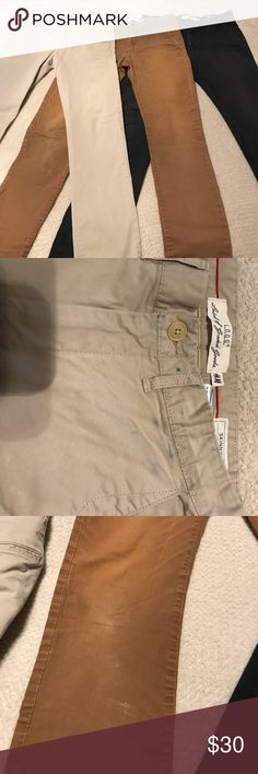 """Bundle of 3 pair H&M Skinny Fit pants, size 29 Bundled to save you money on shopping! You get all three pair of H&M """"Skinny Fit"""" pants in good used condition. One pair in black, one light khaki and one in a darker khaki color. All exactly the same except for color and degree of wear. The black pair have slight color fading on front thighs. Light khaki have slight dark staining at front belt loops. Dark khaki show some wear near back pockets. All of this is shown in pics - other than what…"""
