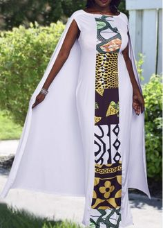 White Cape Evening Maxi Dress Ankara Gown