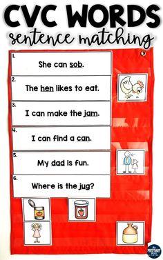 CVC Words, CVC Words Centers, CVC Words Sentence matching