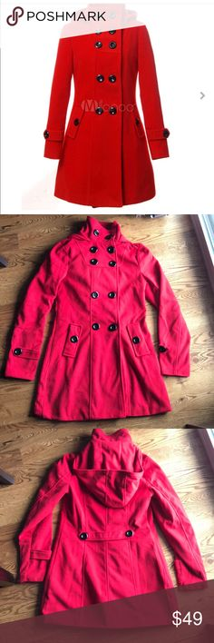 Hooded Wool Coat Women's Red Peacoat For Winter Brand new women's winter peacoat.  Medium length, 32 3/4inches.  Bust 38 1/2inches. Color is True Red. Woolen Fabric, Polyester Lining.  Hooded, Stand Collar, 2 pockets. Jackets & Coats Pea Coats