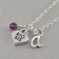 Big Sister Necklace Sterling Silver Big Sis by SixSistersBeadworks