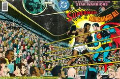 Superman vs. Muhammad Ali comic book cover. Click/tap mouse on image once and then again to view full size version which depicts celebrities such as Don King, Frank Sinatra, Lucille Ball, Raquel Welch, Tony Orlando, Johnny Carson, Presidents  Jimmy Carter & Gerald Ford, Donnie  & Marie Osmond, Cher, Sonny Bono, Joe Namath, Pele, Andy Warhol, Wolfman Jack, the Welcome Back, Kotter cast, Christopher Reeve, The Jackson 5 and even Alfred E. Neuman!