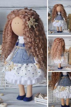 American girl doll handmade Blonde Tilda doll Collectable doll Decor doll Fashion doll Art doll Interior doll