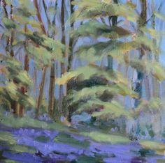 "bluebell glade.Virginia Co Cavan.Oil on panel.7""x7""."