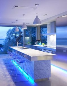 Wow!!! Blue LED light strips creating a new dimension to kitchen lighting! #LED #LEDlightstrips www.ledluxor.com/led-light-strips