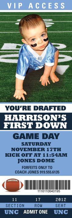 University of North Carolina (UNC) Tarheels inspired football ticket birthday party invite. Contact www.etsy.com/shop/simplypaperdesigns to order your custom birthday invitation.
