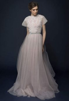 LAVENTI / lavender tulle wedding dress with french lace top / Bohemian wedding dress hand embroidery short sleeves brautkleid tulle skirt Lavender Wedding Dress, Fairy Wedding Dress, Tulle Wedding, Wedding Dresses Australia, Long Sleeve Wedding, Bridal Gowns, Dresses With Sleeves, Short Sleeves, French Lace