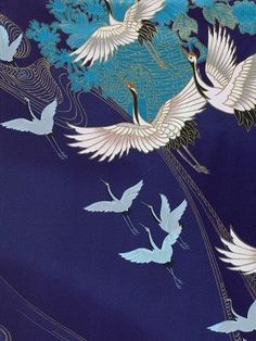 Cranes in Japanese kimono fabric Japanese Textiles, Japanese Patterns, Japanese Fabric, Japanese Prints, Japanese Design, Japanese Kimono, Japanese Crane, Kimono Japan, Kimono Fabric