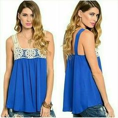 Jill Marie Boutique Tops - Blue crochet detail tank top blouse Size Small