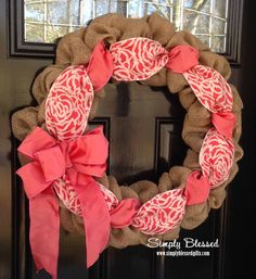 Burlap Wreath for front door or accent - Spring and Easter Pink, Salmon, Coral