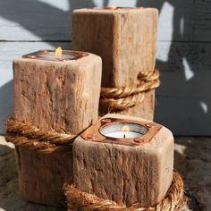 Wooden Tea Light Holder | Driftwood Candle Holder | Wooden Candlesticks