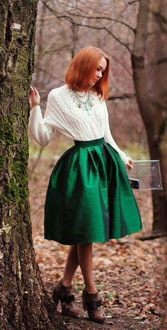 shirt & A-shaped skirt - love this look & the metallic pumps ...