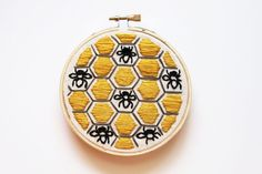 Beehive Embroidery Hoop Art Black Gray & by MugsAndStitches