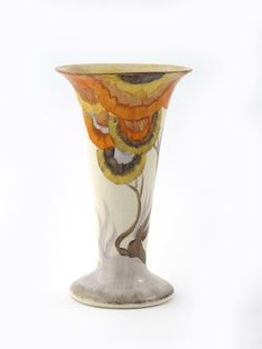 'Rhodanthe' a Clarice Cliff Bizarre trumpet vase, shape no.280, painted in colours printed factory mark, 15.5cm. high
