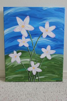 Original Acrylic Painting of Flowers on Canvas by PaintingsByKayla, $80.00