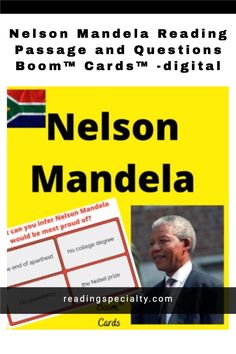 Students read about Nelson Mandela and answer questions using the fun and self-correcting Boom Learning task cards. Passage Writing, Reading Passages, Reading Task Cards, Student Reading, Interactive Learning, Learning Activities, Middle School History, High School, Example Of Biography