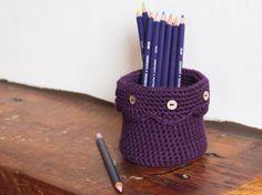 Purple Desk Tidy, Crochet Pen Pot, Storage Basket, Crochet Basket, Trinket Bowl, Yarn Basket, Trinket Dish, Sewing Basket, Bathroom Basket