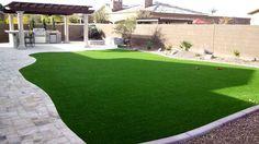 backyard landscape with synthetic grass, travertine patio, bbq with cultured stone, and pergola Desert Backyard, No Grass Backyard, Backyard Retreat, Backyard Patio, Backyard Landscaping, Landscaping Ideas, Landscape Design, Garden Design, Creative Landscape