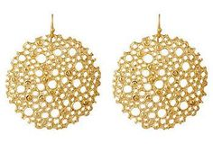 Simple and chic: hand-cast open disc earrings crafted from 24-karat gold-plated metal.