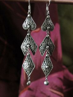 Extra Long Tibetan Jewelry Dangle Earrings made in Nepal