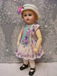 "bleuette dolls on ebay | Details about 11""Bleuette Hanky Dress and Embroidered Hat"