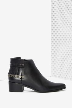 Grey City Wilma Leather Fringe Booties with Silver Detail